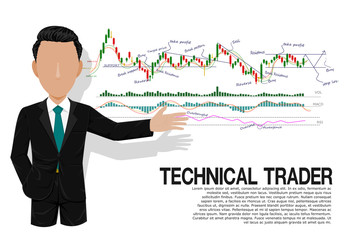 Smart technical trader is presenting stock chart analysis on transparent background