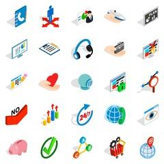 Business career icons set, isometric style