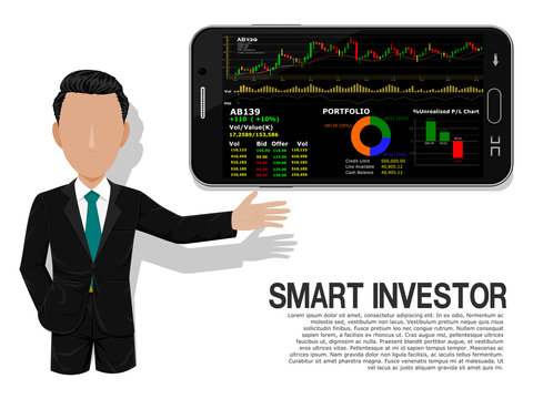 Smart investor is presenting the mobile investment application on transparent background
