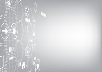 Futuristic icons on hive wall, vector technology background
