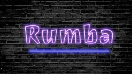 Rumba neon sign on dark brick wall - background image