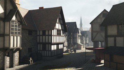 Fototapete - Illustration of a Street Scene in a Medieval Town