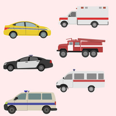 Vector set of the isolated transport icons. Fire truck, ambulance, police car, taxi.