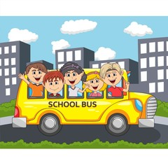 Children go to school by bus through city streets cartoon