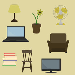 Vector illustration of various furniture and decoration items.