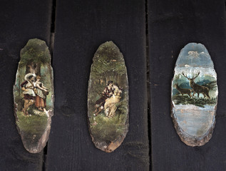 Old painted pictures on wood
