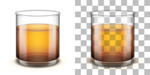 Classic glass tumbler with straight sides for various drinks. Realistic vector illustration.