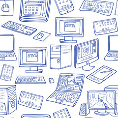 hand drawn computer, laptop, gadget seamless vector pattern