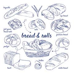 Doodle set of bread - baguette, rye, farmers, bun, white, butter, toast, pretzel, full grain, rolls, basket, hand-drawn. Vector sketch illustration isolated over white background.