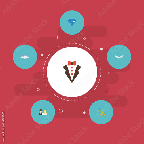 flat icons jewelry accessories brilliant and other vector elements