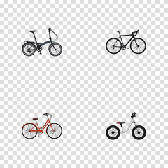 Realistic Equilibrium, Folding Sport-Cycle, Retro And Other Vector Elements. Set Of Bike Realistic Symbols Also Includes Bike, Folding, Retro Objects.