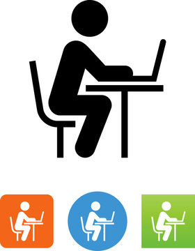 Working At Desk Icon