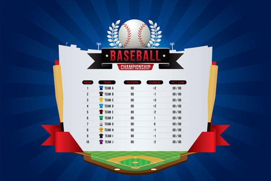 Vector of baseball game with team competition and scoreboard.