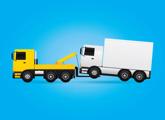 Tow truck evacuating the assistance car. Vector illustration