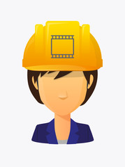Worker avatar with   a photographic 35mm film strip