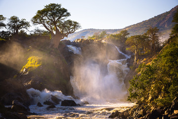Misty sunrise on Epupa falls - Kunene river - Namibia - Angola border