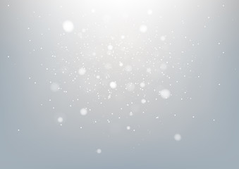 Silver abstract background and white bokeh lights defocused. Vector illustration