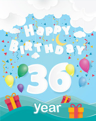 cool 36 th birthday celebration greeting card origami paper art design, birthday party poster background with clouds, balloon and gift box full color. thirty six years anniversary celebrations