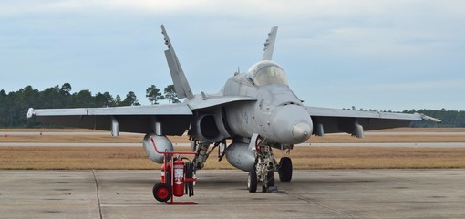 Fototapete - A U.S. Navy F/A-18 Hornet fighter jet prepares for take-off on the runway