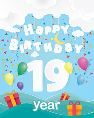 cool 19 th birthday celebration greeting card origami paper art design, birthday party poster background with clouds, balloon and gift box full color. nineteen years anniversary celebrations