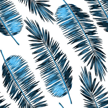 Seamless watercolor floral pattern with stylized palm leaves. Colorful jungle foliage, trendy blue style on white background. Textile design.