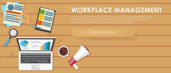 Workplace management banner. Work desk, laptop, coffee.