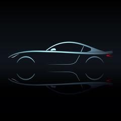 Blue light silhouette sport car on black background. Vector illustration.