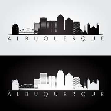 Albuquerque USA skyline and landmarks silhouette, black and white design, vector illustration.