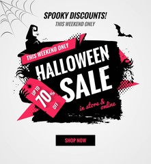 Halloween sale dynamic banner.Sale poster with brush strokes and holiday symbols.    Vector illustration.