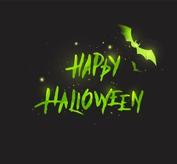 Happy halloween script. Happy Halloween Calligraphy Isolated On Black. Vector illustration