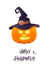 Happy halloween card with text, pumpkin and witch hat.  Halloween poster. HAlloween pumpkin with hat isolated on white. Vector illustration