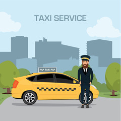Taxi driver service background the city flat style illustration background