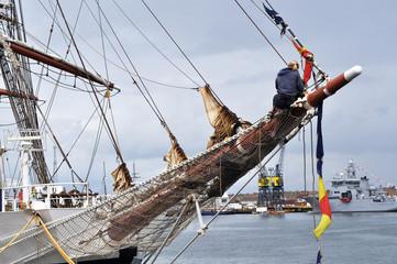 Bowsprit of tall ship with sailor, Hartlepool, England