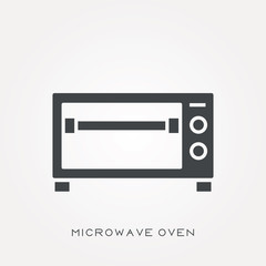 Silhouette icon microwave oven