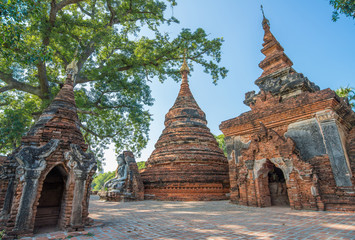 Yadana Hsemee pagoda of Inwa the ancient capital cities of Myanmar.