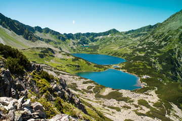 Tatras mountains, Valley of five ponds. View on mountains and two lakes. Trail to see eye from the mountain hostel in five ponds.  Five breathtaking mountain lakes in the High Tatras.