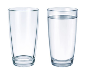 Empty glass and glass with water isolated on white background