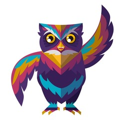 cool colorful cute owl waving