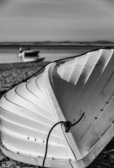 White dinghy on Cape Cod beach