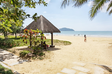 Panorama of the tropical beach of Hainan Island