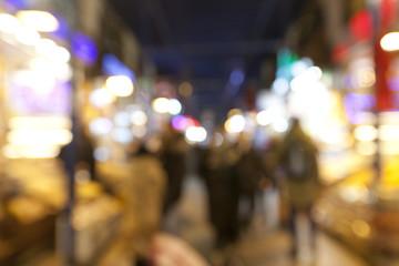 blur background of Spice Bazaar in Istanbul, Turkey