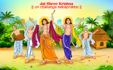 Chaitanya Mahaprabhu in devotion of Lord Krishna for Happy Janmashtami festival of India