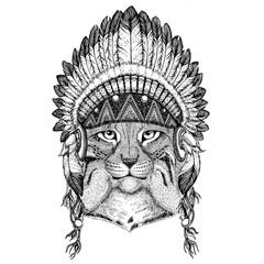 Wild cat Lynx Bobcat Trot Hand drawn illustration for tattoo, em