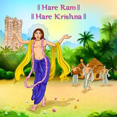 Chaitanya Mahaprabhu in devotion of Lord Krishna for Happy Janmashtami festival of India