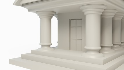 antique white temple building concept with column isolated. 3D illustration