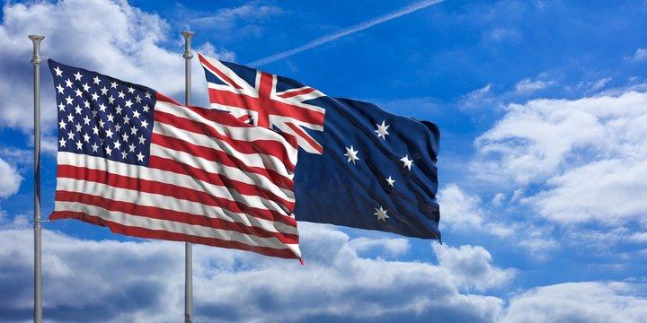 Australia and America waving flags on blue sky. 3d illustration