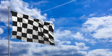 F1 waving flag on blue sky. 3d illustration