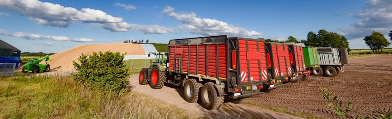 Fototapete - Maisernte - Landtechnik vor großem Maishaufen, Banner