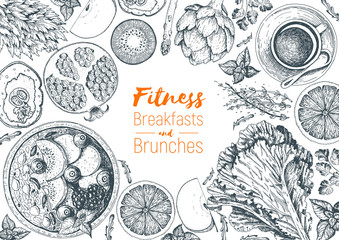 Fitness breakfasts and brunches top view frame. Healthy food menu design. Vintage hand drawn sketch vector illustration. Engraved style image. Fruits and vegetables for vegetarian breakfast.