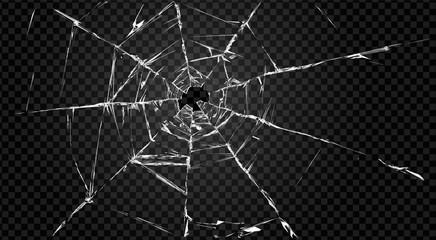 Obraz broken transparent glass with hole in it. - fototapety do salonu
